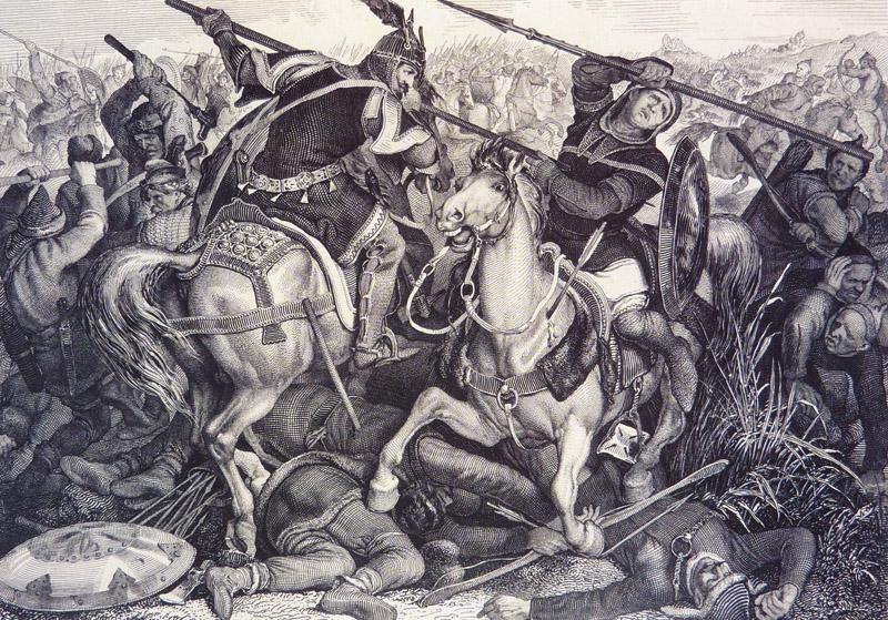 Szent László párviadala Ákus kun hadfőnökkel, 1089. P.J.N.Geiger litográfiája